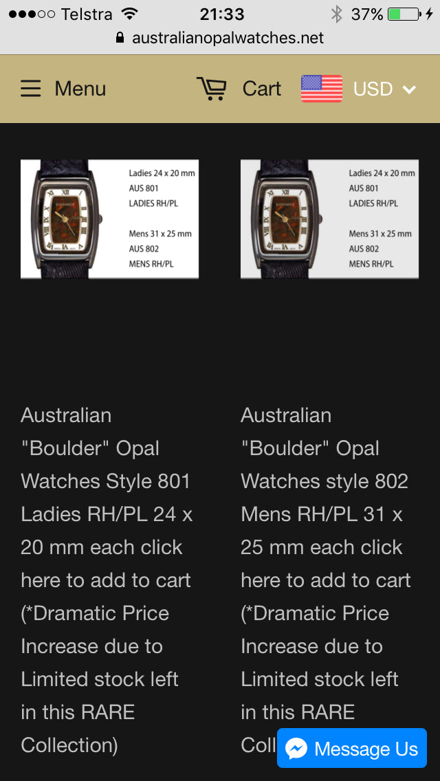 Australian Opal Watches & Jewellery Screenshot - 4