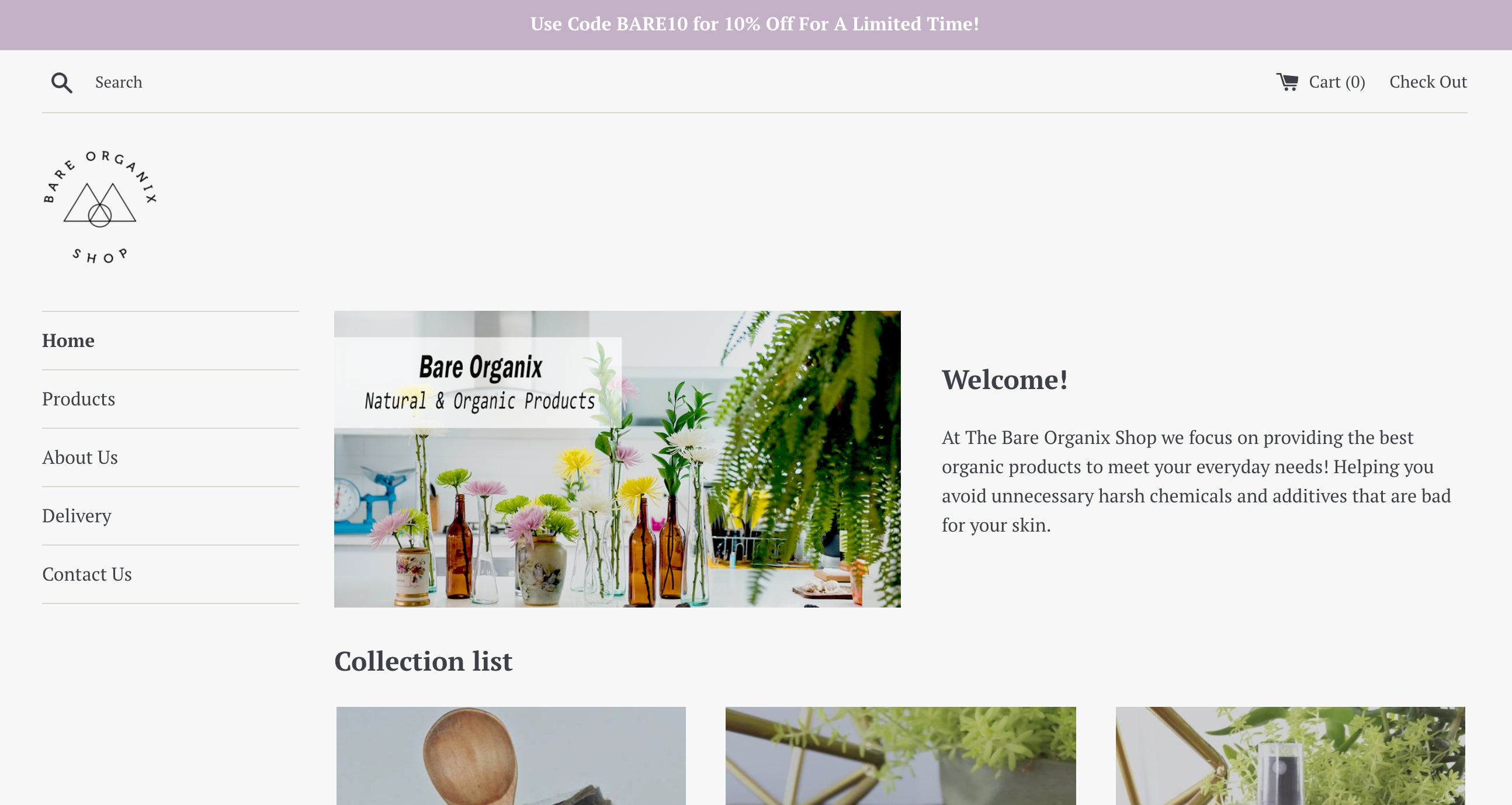 Bare Organix Shop Screenshot - 2
