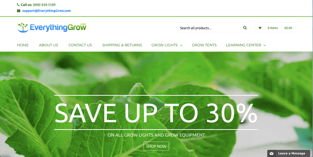 DropShipping business for LED Grow Lights and Grow Tents for sale (EverythingGrow.com) Screenshot - 2