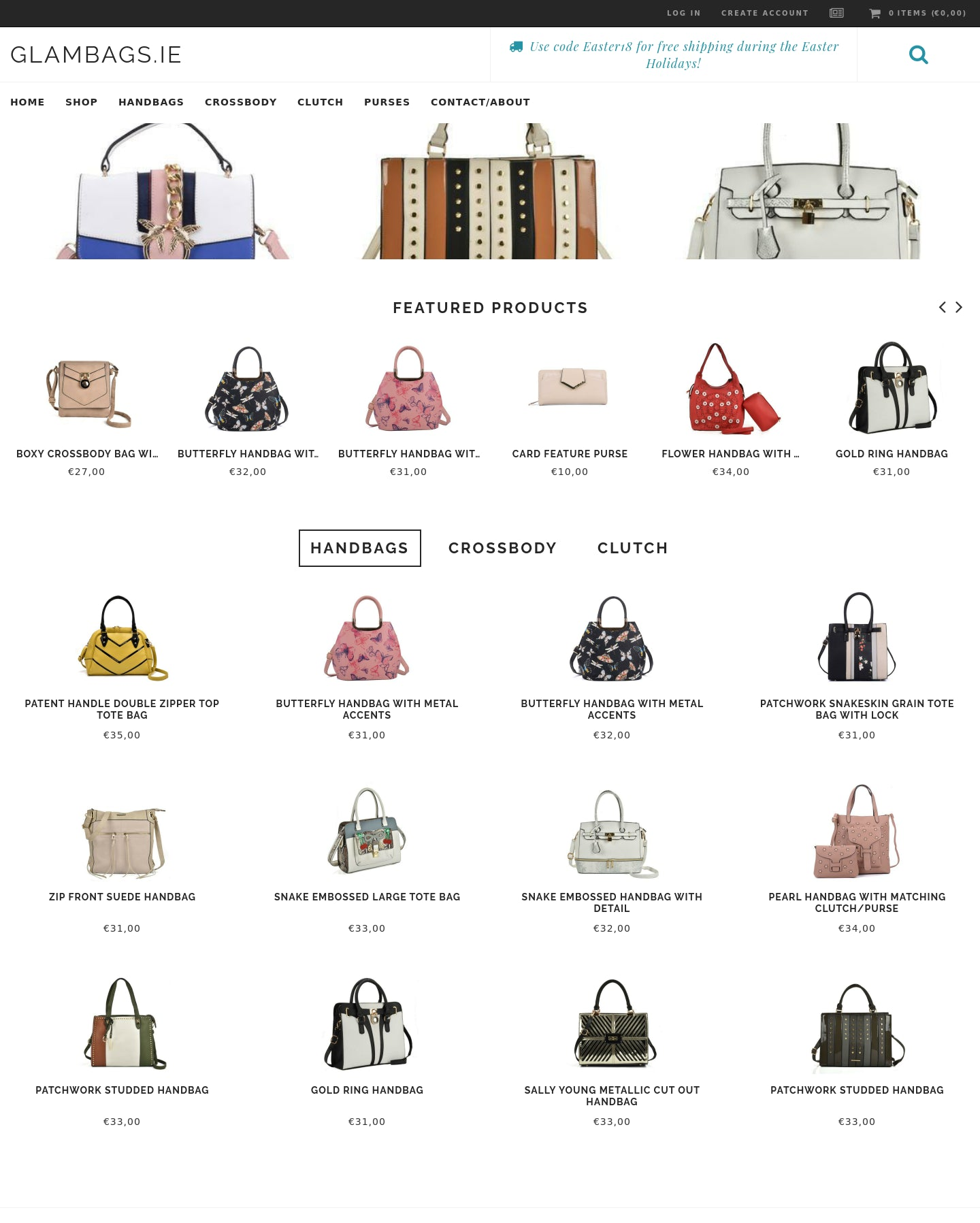 Glambags.ie UK/Ireland/Europe Handbag, clutch and tote bag store.  Screenshot - 1