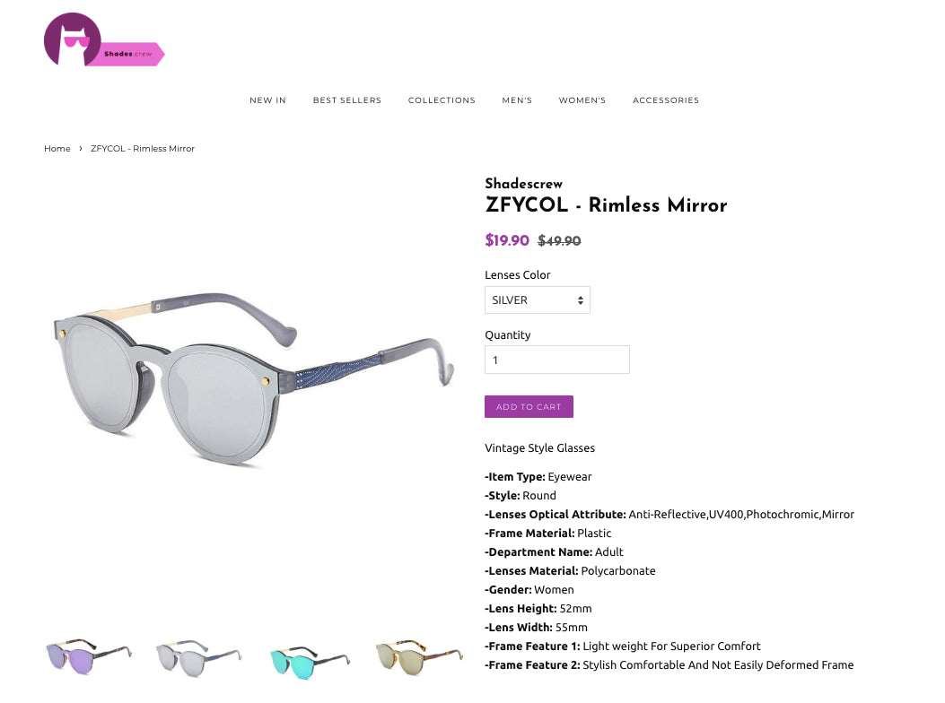 Shades Crew - Love Sunglasses? Why not turn your passion it into a very lucrative online business with a minimum of 100% markups in a hot niche!? Screenshot - 2