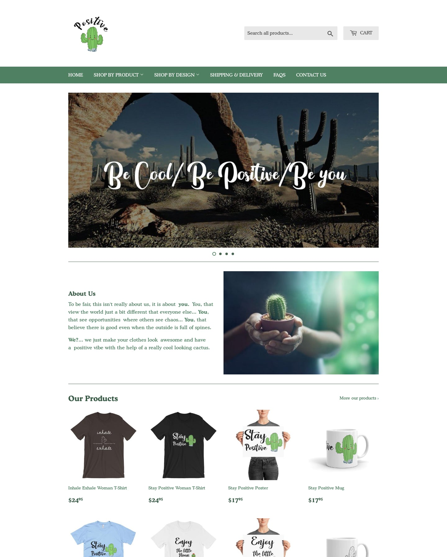 ThePositiveCactus Printing On Demand Shopify Store with Tremendous Growth Opportunity Screenshot - 1