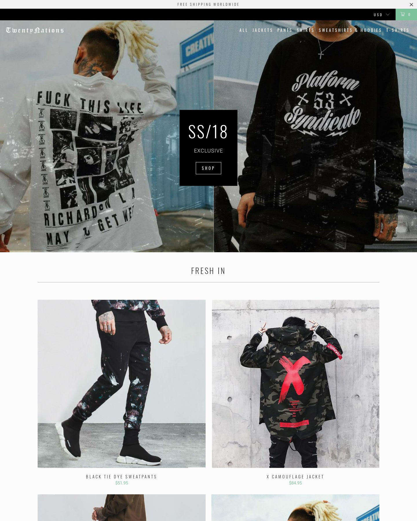 Men's Streetwear Fashion Dropship Store - Twenty Nations Screenshot - 1