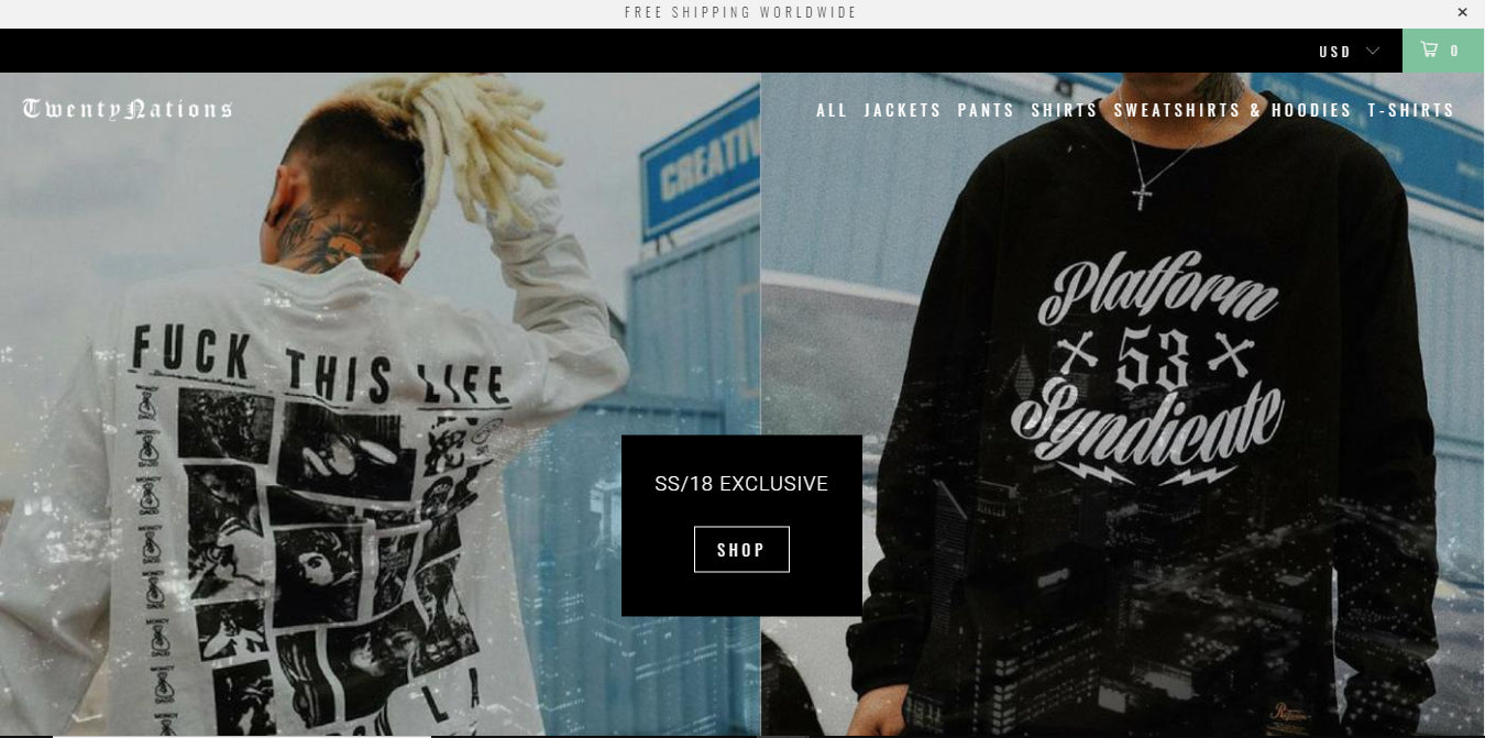 Men's Streetwear Fashion Dropship Store - Twenty Nations Screenshot - 2