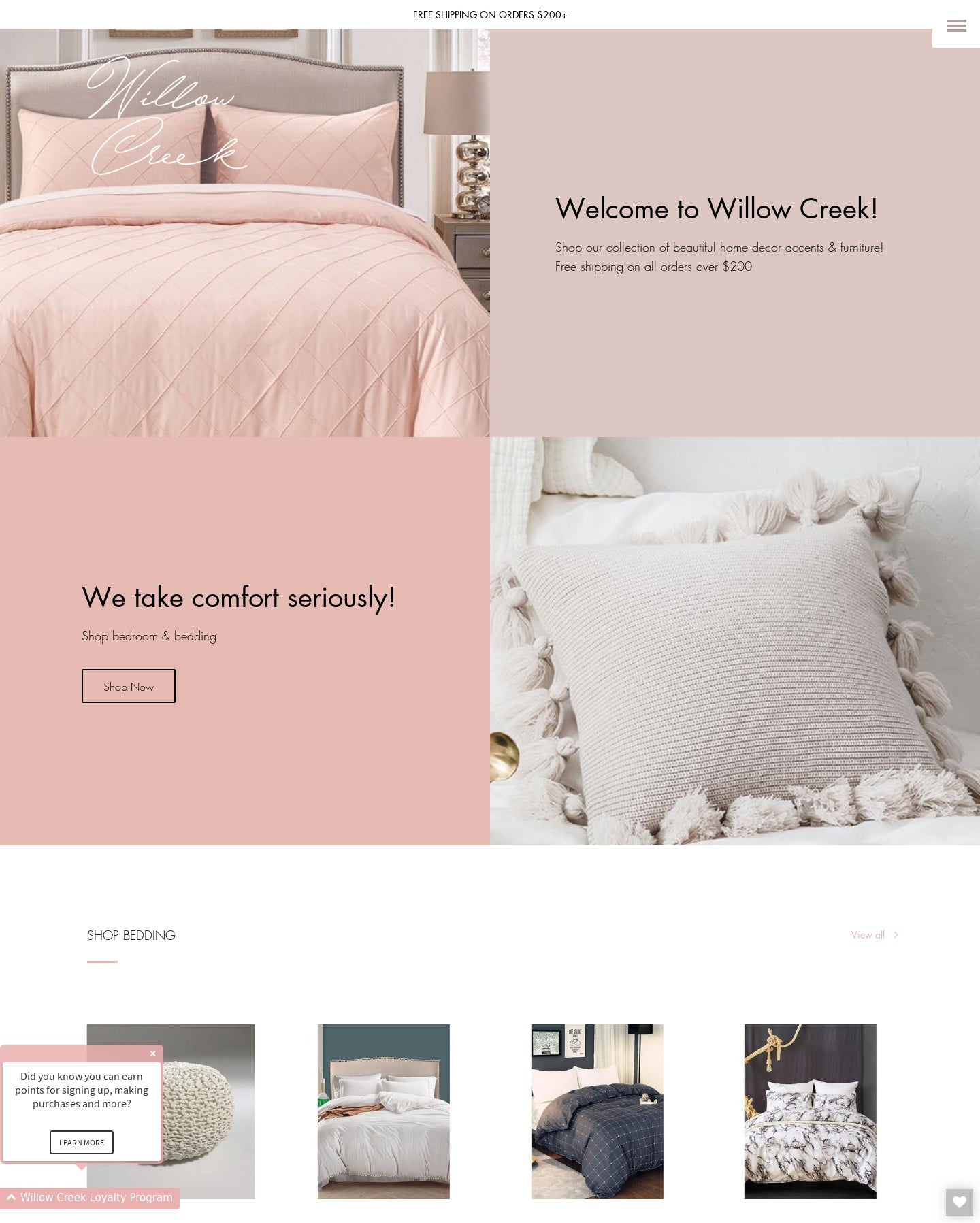 Willow Creek Home | High Quality Dropshipping Home Decor and Furniture e-Commerce Store Screenshot - 1